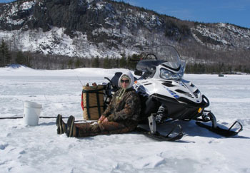 SetWidth350 Carly Snowmobile Ice Fishing